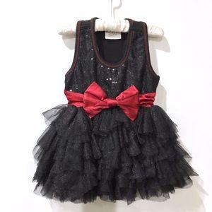 Girls Ooh! La, La! Couture Black Dress Red Bow 18M